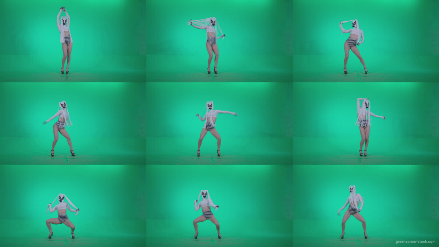 Go-go-Dancer-with-Latex-Top-t1-Green-Screen-Video-Footage Green Screen Stock