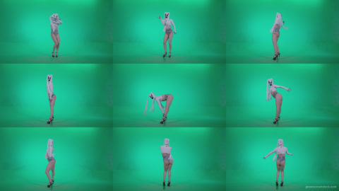 Go-go-Dancer-with-Latex-Top-t2-Green-Screen-Video-Footage Green Screen Stock