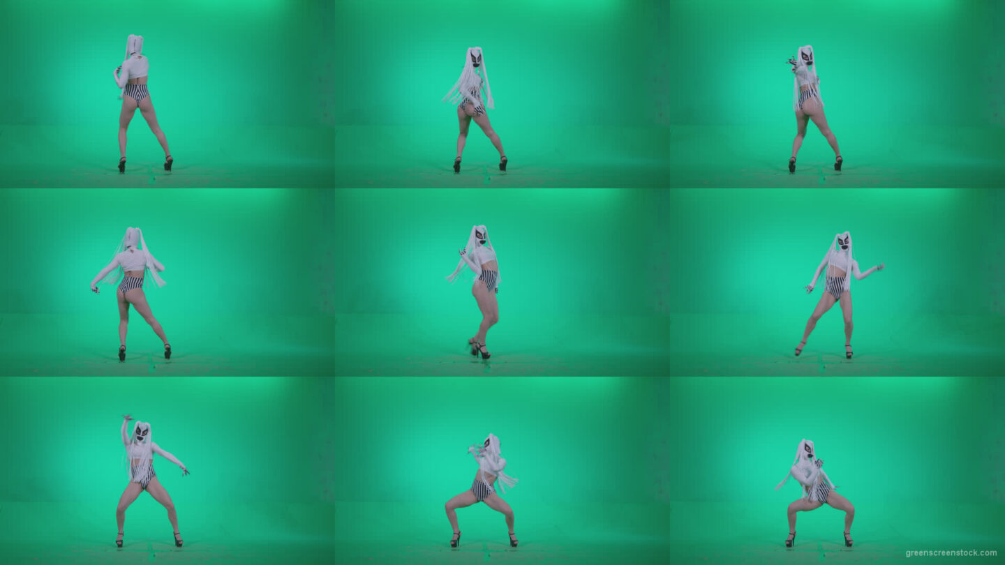 Go-go-Dancer-with-Latex-Top-t3-Green-Screen-Video-Footage Green Screen Stock