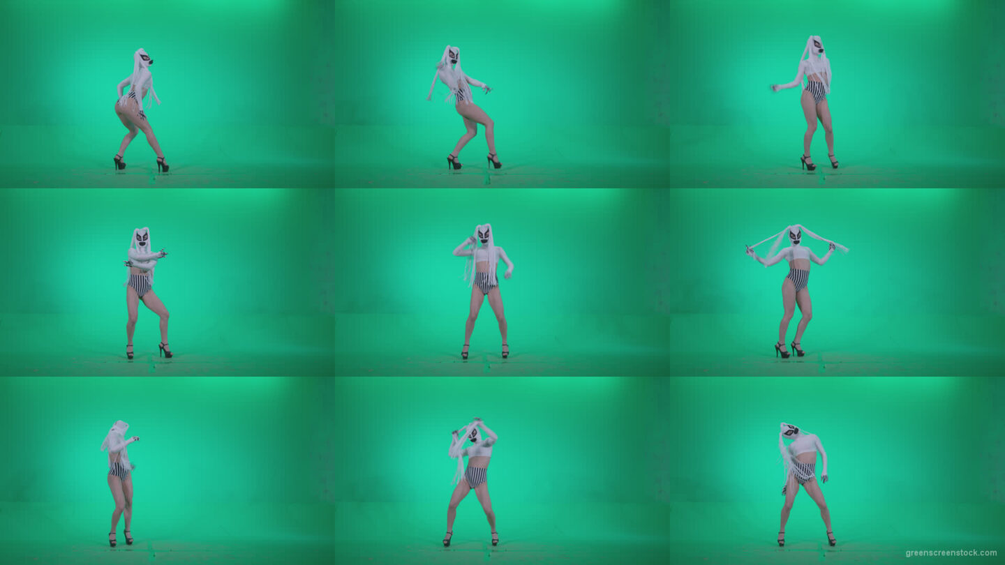 Go-go-Dancer-with-Latex-Top-t6-Green-Screen-Video-Footage Green Screen Stock