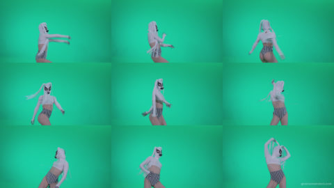 Go-go-Dancer-with-Latex-Top-t9-Green-Screen-Video-Footage Green Screen Stock