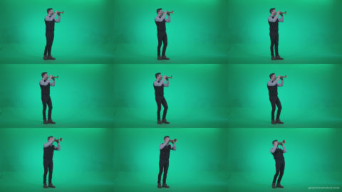 Gold-Trumpet-playing-1 Green Screen Stock