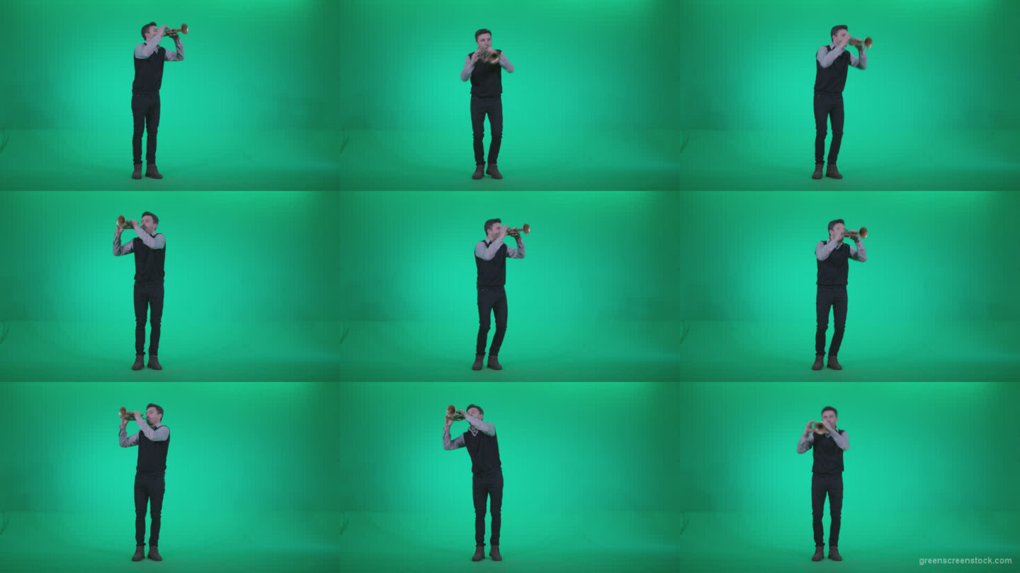 Gold-Trumpet-playing-2 Green Screen Stock