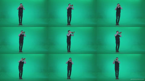 Gold-Trumpet-playing-3 Green Screen Stock