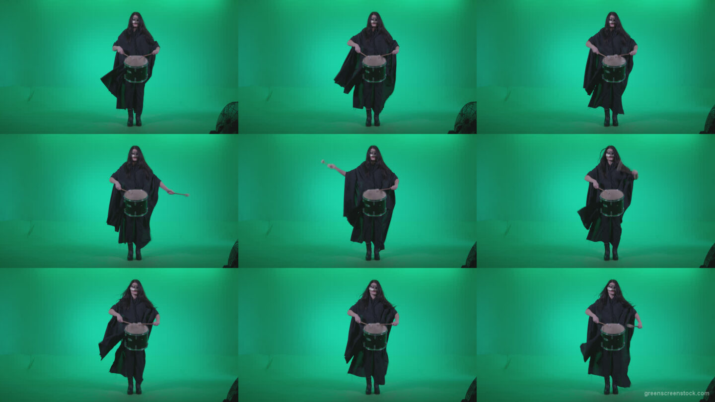 Gothic-Snare-Drumming-girl-g4 Green Screen Stock