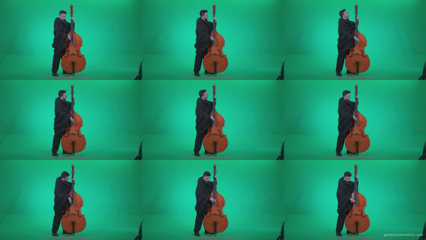 Gotic-Contrabass-Jazz-Performer-1 Green Screen Stock