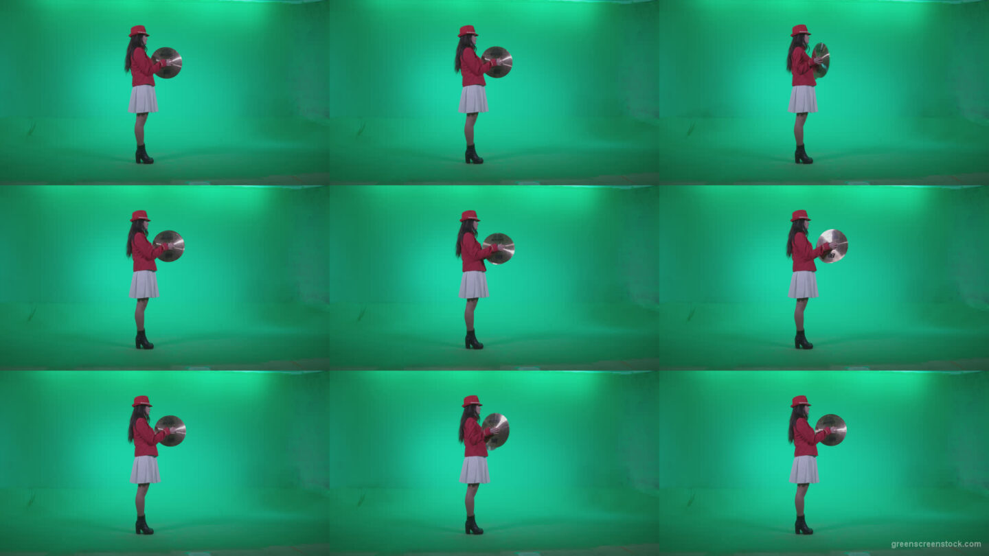 Preteen-Girl-Playing-The-Cymbals-c3 Green Screen Stock