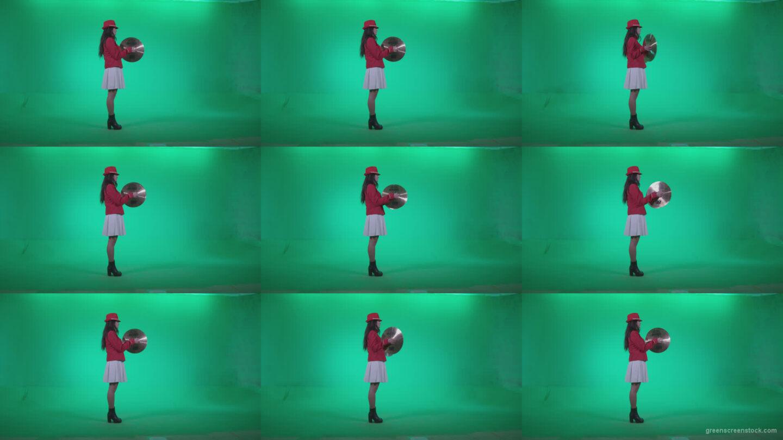 Preteen-Girl-Playing-The-Cymbals-c3 Green Screen Stock