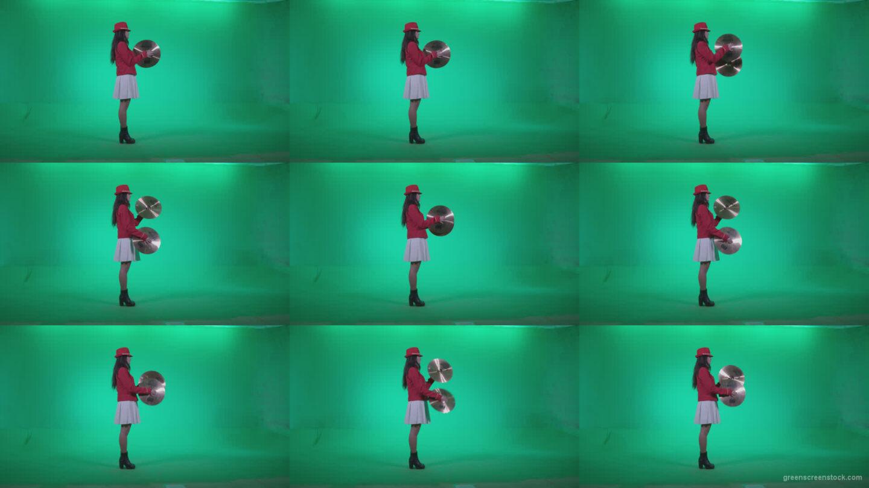 Preteen-Girl-Playing-The-Cymbals-c4 Green Screen Stock