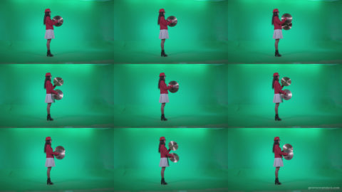 Preteen-Girl-Playing-The-Cymbals-c4 Green Screen Stock