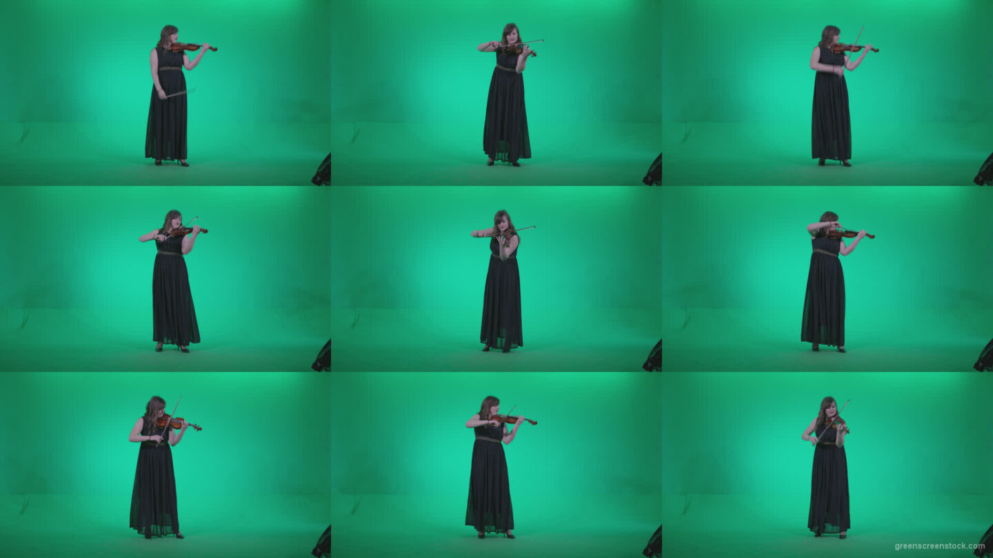 Professional-Violin-player-woman-z2 Green Screen Stock