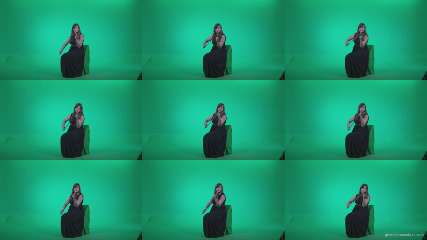 Professional-Violin-player-woman-z3 Green Screen Stock