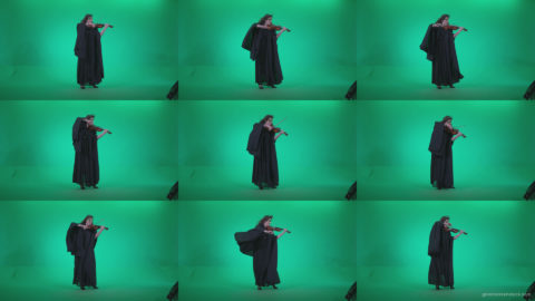 Professional-Violin-player-woman-z4 Green Screen Stock