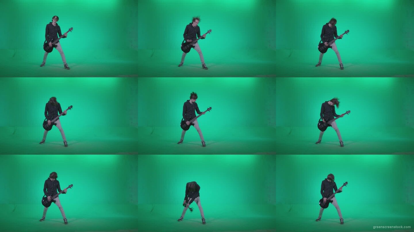 Punk-Guitarist-Playhard-Q2 Green Screen Stock