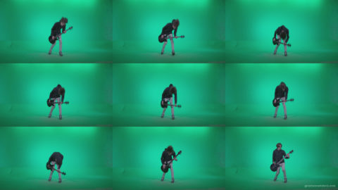 Punk-Guitarist-Playhard-Q4 Green Screen Stock