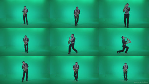 Saxophone-Virtuoso-Performer-s10-Green-Screen-Video-Footage Green Screen Stock