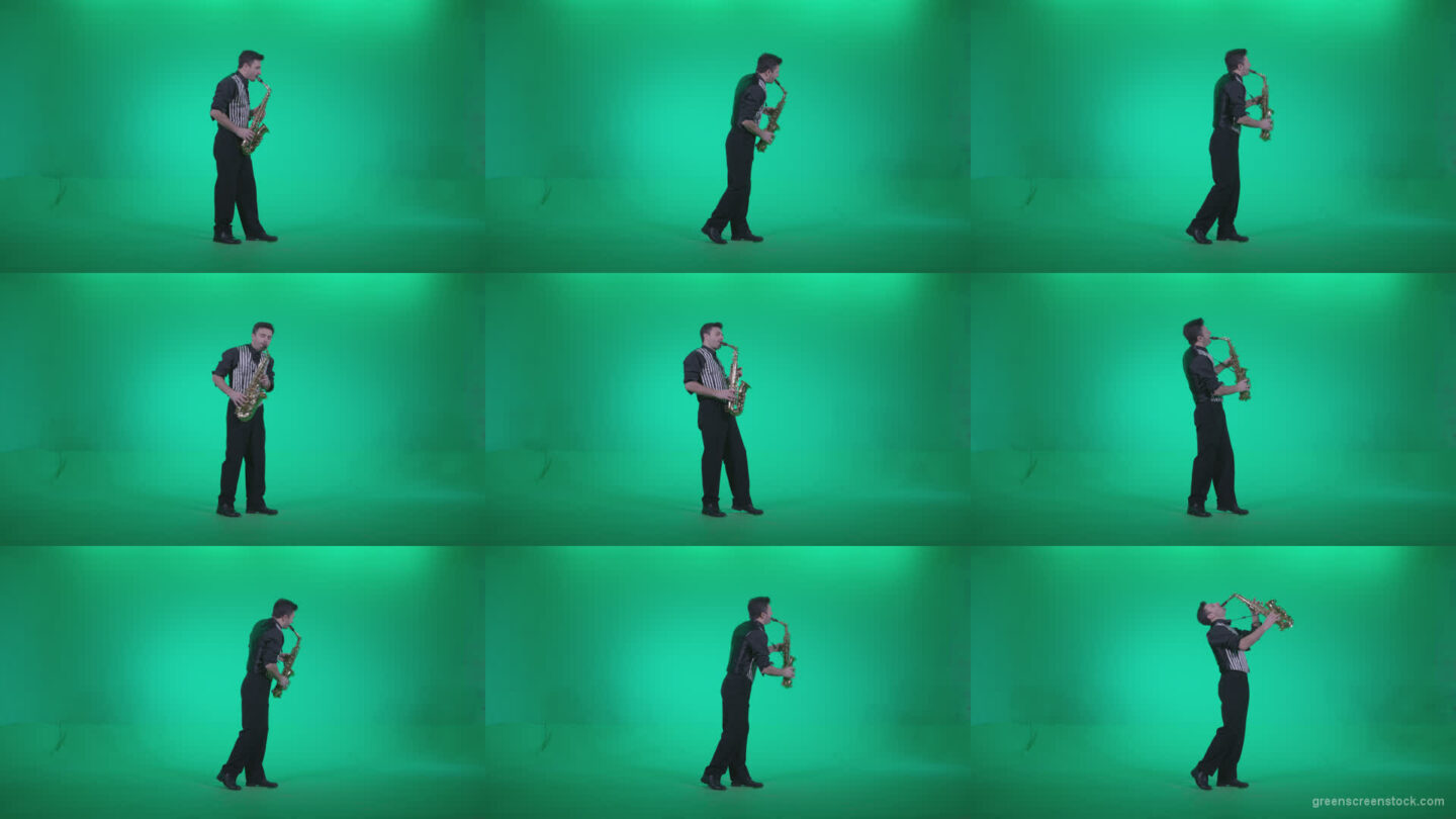 Saxophone-Virtuoso-Performer-s3 Green Screen Stock
