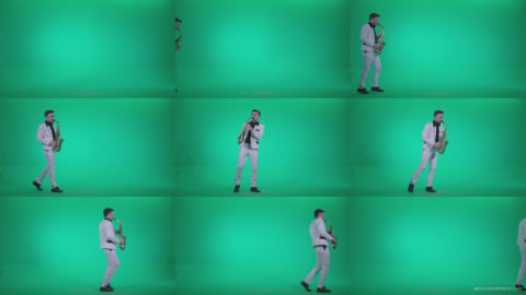 Saxophone-Virtuoso-Performer-s7-Green-Screen-Video-Footage Green Screen Stock