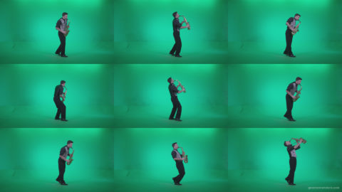 Saxophone-Virtuoso-Performer-s9-Green-Screen-Video-Footage Green Screen Stock