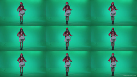 Snare-Drumming-girl-w4 Green Screen Stock