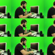 Beard-Man-Angry-Button-Pushing-Green-Screen-Footage Green Screen Stock
