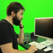 Beard-Man-Angry-Button-Pushing-Green-Screen-Footage_001 Green Screen Stock