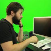 Beard-Man-Angry-Button-Pushing-Green-Screen-Footage_002 Green Screen Stock