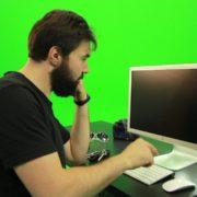 Beard-Man-Angry-Button-Pushing-Green-Screen-Footage_004 Green Screen Stock