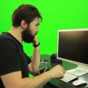 Beard-Man-Angry-Button-Pushing-Green-Screen-Footage_005 Green Screen Stock