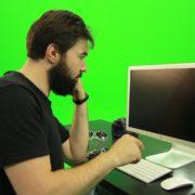 Beard-Man-Angry-Button-Pushing-Green-Screen-Footage_006 Green Screen Stock