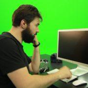 Beard-Man-Angry-Button-Pushing-Green-Screen-Footage_007 Green Screen Stock
