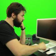 Beard-Man-Angry-Button-Pushing-Green-Screen-Footage_008 Green Screen Stock