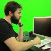 Beard-Man-Angry-Button-Pushing-Green-Screen-Footage_009 Green Screen Stock
