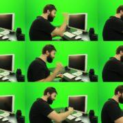 Beard-Man-Beats-the-Screen-Green-Screen-Footage Green Screen Stock