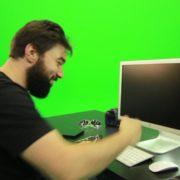 Beard-Man-Beats-the-Screen-Green-Screen-Footage_004 Green Screen Stock
