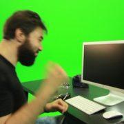 Beard-Man-Beats-the-Screen-Green-Screen-Footage_005 Green Screen Stock