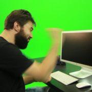 Beard-Man-Beats-the-Screen-Green-Screen-Footage_006 Green Screen Stock