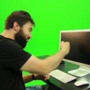 Beard-Man-Beats-the-Screen-Green-Screen-Footage_007 Green Screen Stock