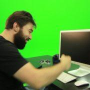 Beard-Man-Beats-the-Screen-Green-Screen-Footage_008 Green Screen Stock