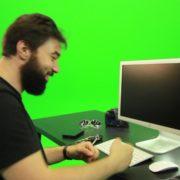 Beard-Man-Beats-the-Screen-Green-Screen-Footage_009 Green Screen Stock