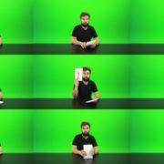 Beard-Man-Gives-1-Point-2-Green-Screen-Footage Green Screen Stock