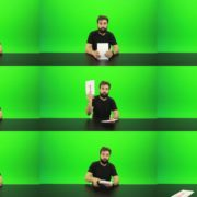 Beard-Man-Gives-1-Point-Green-Screen-Footage Green Screen Stock