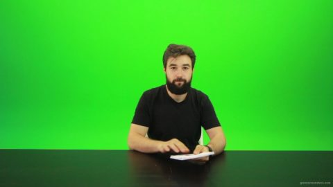 vj video background Beard-Man-Gives-1-Point-Green-Screen-Footage_003