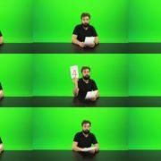 Beard-Man-Gives-4-Points-Green-Screen-Footage Green Screen Stock