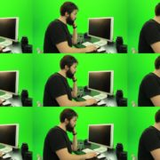 Beard-Man-Pushes-the-Button-Green-Screen-Footage-2 Green Screen Stock