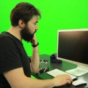 Beard-Man-Pushes-the-Button-Green-Screen-Footage-2_001 Green Screen Stock