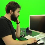Beard-Man-Pushes-the-Button-Green-Screen-Footage-2_005 Green Screen Stock