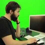 Beard-Man-Pushes-the-Button-Green-Screen-Footage-2_006 Green Screen Stock