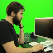 Beard-Man-Pushes-the-Button-Green-Screen-Footage-2_007 Green Screen Stock
