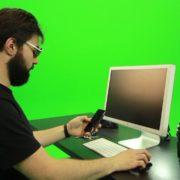 Beard-Man-Searching-in-the-Phone-Green-Screen-Footage_005 Green Screen Stock